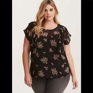 TORRID Floral Print Chiffon Ruffled blouse Size 4